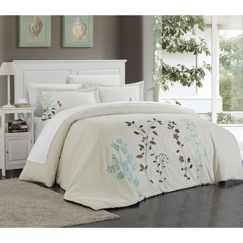 Copper Grove Burwell Floral Embroidered Microfiber 3-piece Duvet Cover Set
