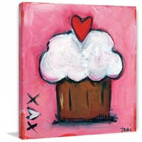"""Marmont Hill - """"Pink Heart Cupcake"""" by Tori Campisi Painting Print on Canvas - Multi-color"""