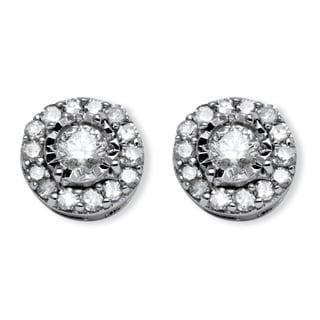 10k White Gold 1/4ct TDW Round Diamond Stud Cluster Earrings