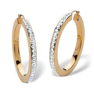 PalmBeach 14k Yellow Gold Nano Diamond Resin Filled Diamond Fascination Hoop Earrings