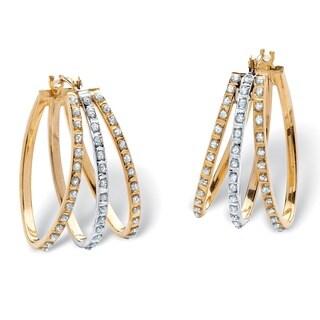 14k Yellow Gold Diamond Accent Fascination Triple Hoop Earrings
