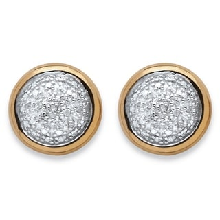PalmBeach 18k Yellow Gold over Sterling Silver 1/10ct TDW Diamond Cluster Bezel Stud Earrings