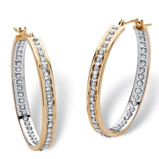 PalmBeach 18k Yellow Gold over Sterling Silver Diamond Accent Fascination Burnish-set Hoop Earrings