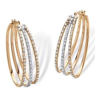 PalmBeach 18k Yellow Gold over Sterling Silver Diamond Accent Fascination Burnish-Set Triple Hoop Earrings