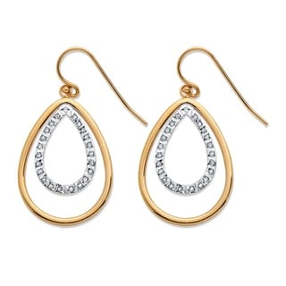 PalmBeach 18k Yellow Gold over Sterling Silver Diamond Accent Fascination Double Pear Drop Earrings