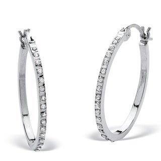 Platinum over Sterling Silver Diamond Accent Fascination Hoop Earrings