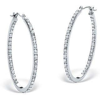 PalmBeach Platinum/Silver Diamond Accent Inside-out Hoop Earrings