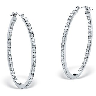 Platinum/Silver Diamond Accent Inside-out Hoop Earrings