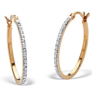 PalmBeach 18k Yellow Gold over Sterling Silver Diamond Accent Fascination Hoop Earrings