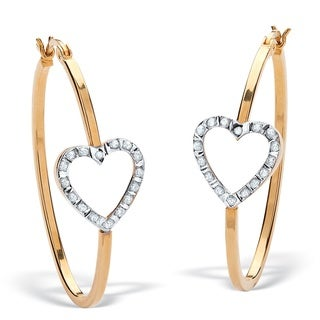 PalmBeach 18k Gold/ Silver Diamond Accent Heart Hoop Earrings