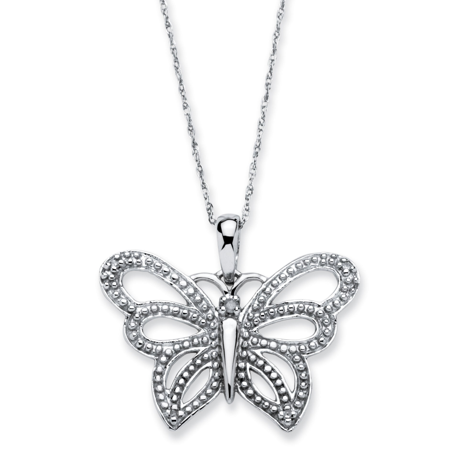 Palm Beach 10k White Gold Diamond Accent Butterfly 18-inc...