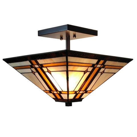 Amora Lighting Tiffany Style Mission Ceiling Pendant Hanging 2-Light Lamp
