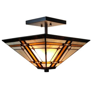 Amora Lighting Tiffany Style Mission Ceiling Pendant Hanging 2-Light Lamp