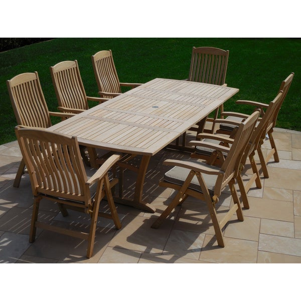 Roble Wood 9 Piece Dining Set With Cushions