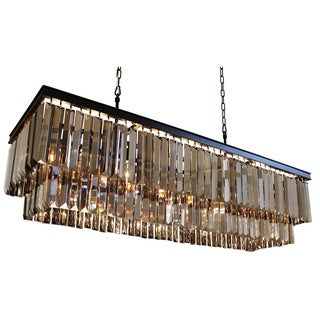 D'Angelo 40-inch 2-tier Wrought Iron Rectangular Fringe Smoked Crystal Chandelier
