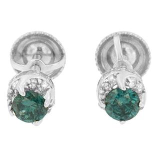 14k White Gold 1/2ct TDW White and Treated Blue Round Diamond Earrings (I-J I2-I3)