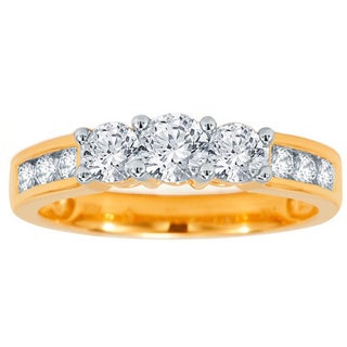 Divina 10k Yellow Gold 1ct TDW 3-stone Diamond Engagement Ring