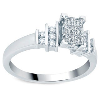 Divina 10k White Gold 1/2ct TDW Princess-cut Diamond Engagement Ring (H-I, I1-I2)
