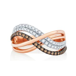Divina 14k Rose Gold 3/4ct TDW Champagne and White Diamond Fashion Ring (H-I, I1-I2)
