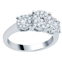 Divina 14k White Gold 1ct TDW 3-stone Diamond Unity Engagement Ring (H-I, I1-I2)