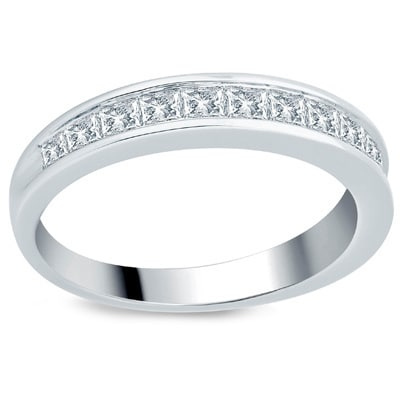 Divina 10k White Gold 1ct TDW Princess Diamond Wedding Band