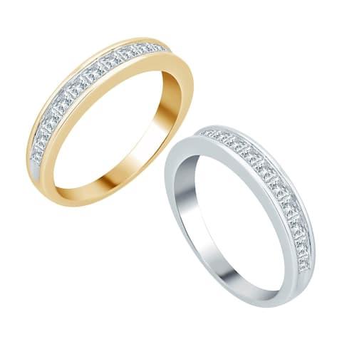 Divina 10KT Gold 1ct TDW Princess Diamond Wedding Band