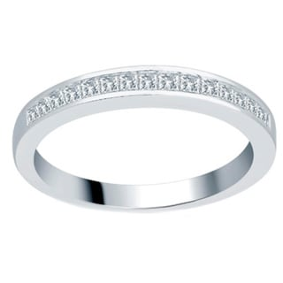 Divina 14k White Gold 1/3ct TDW Princess Wedding Band