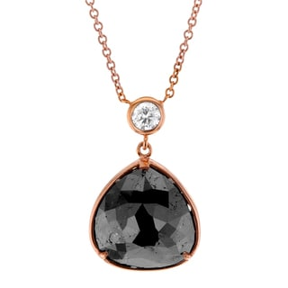 Annello by Kobelli 14k Rose Gold 4 1/2ct TDW Black and White Diamond Bezel Necklace (G-H,