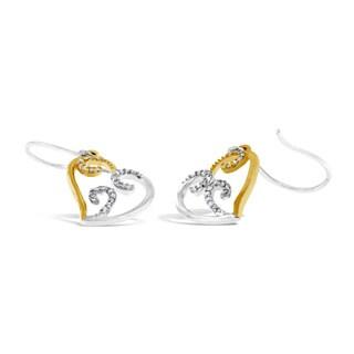 10k Two-tone Gold 1/4ct TDW Round Diamond Heart Dangle Earrings (I-J, I2-I3)