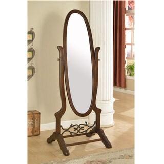 Adriana Swivel Standing Floor Mirror-Walnut