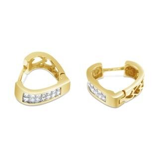 14k Yellow Gold 1/2ct TDW Princess Cut Diamond Heart Silhouette Hoop Earrings (I-J, I2-I3)