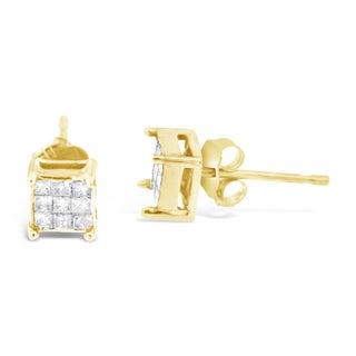 10k Yellow Gold 1/4ct TDW Princess-cut Diamond Earrings (J-K, I2-I3)