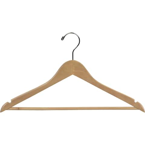 Natural Finish Wooden Suit Hanger with Fixed Pant Bar, Case of 25 hangers with Notches and Chrome Hook