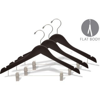 Wooden Combo Hanger with Espresso Finish and Clips, Brushed Chrome Hardware (Case of 50)
