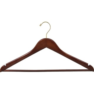 Walnut Finish Wooden Suit Hanger Brass Hook (Case of 100)