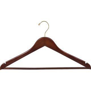 Walnut Finish Wooden Suit Hanger with Solid Pant Bar, Case of 100 hangers with Notches and Brass Swivel Hook