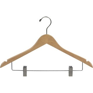 Wooden Combo Hanger, Natural Finish with Clips (Box of 100)