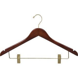 Walnut Finish Wooden Combo Hanger with Clips and Brass Hardware (Case of 25)
