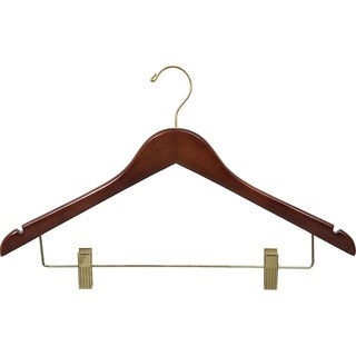 Walnut Finish Wooden Combo Hanger with Brass Hardware and Clips (Case of 50)