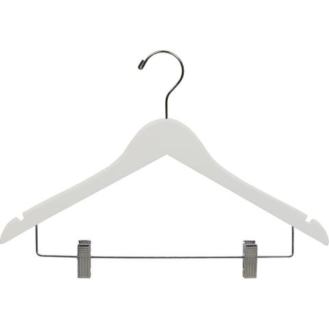 White Wooden Combo Hanger with Adjustable Cushion Clips (Case of 25)