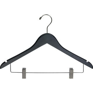 Black Wooden Combo Hanger with Clips (Case of 25)