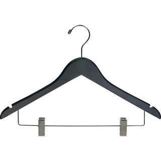 Black Wooden Combo Hanger with Clips (Case of 50)