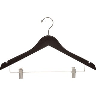 Espresso Finish Wooden Combo Hanger with Clips and Brushed Chrome Hardware (Box of 100)