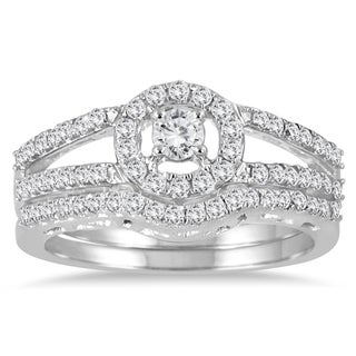 Marquee Jewels 10k White Gold 3/4ct TDW Diamond Halo Bridal Ring Set