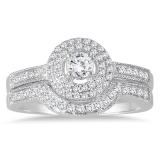 Marquee Jewels 10k White Gold 1/2ct TDW Diamond Halo Bridal Ring Set (I-J, I1-I2)