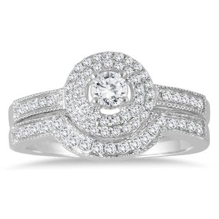 Marquee Jewels 10k White Gold 1/2ct TDW Diamond Halo Bridal Ring Set