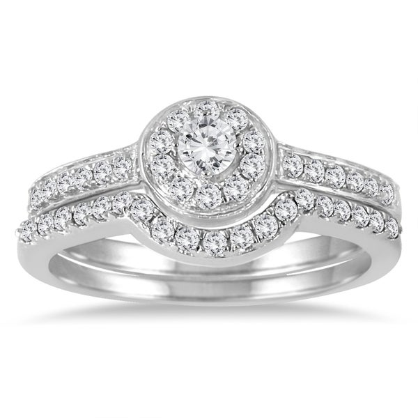 Marquee Jewels 10k White Gold 1/2 CT TDW Diamond Halo Bridal Ring Set