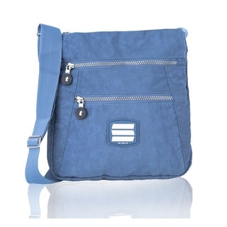 Suvelle Go-anywhere Blue Crinkle Nylon Large Travel Crossbody Bag