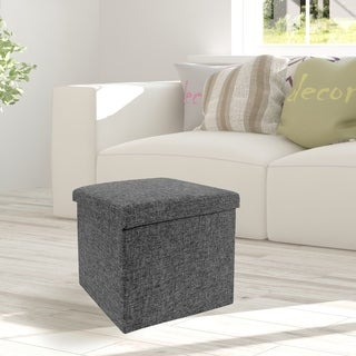 Seville Classics Foldable Storage Cube Ottoman, Charcoal Gray