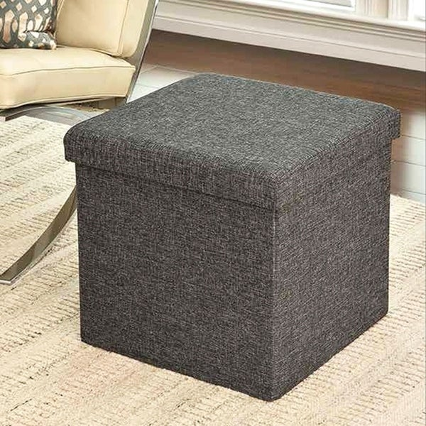 Superbe Seville Classics Foldable Storage Cube Ottoman, Charcoal Gray